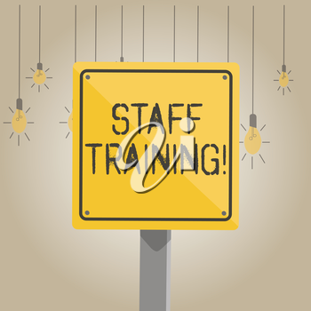 Writing note showing Staff Training. Business concept for learn specific knowledge improve perforanalysisce in current roles 3D Square Colorful Caution Road Sign with Black Border Wood