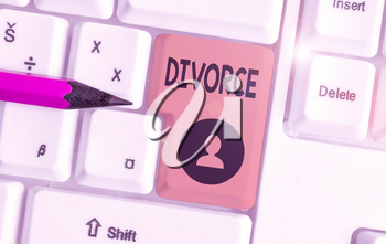Text sign showing Divorce. Business photo showcasing Legal dissolution of marriage Separation Breakup Disagreement