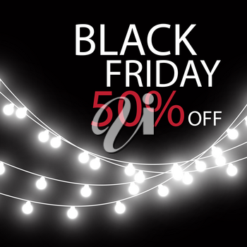 Black Friday Sale handmade lettering, calligraphy with garland and dark background for logo, banners, labels, badges, prints, posters, web