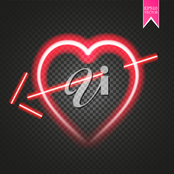 Bright neon heart. Heart sign with cupid arrow on dark transparent background. Neon glow effect. Vector