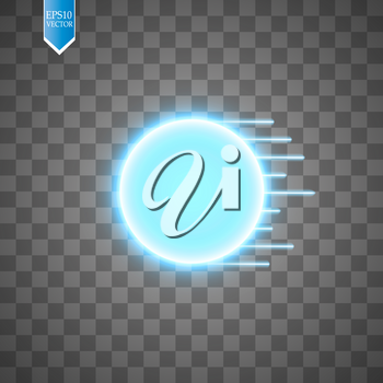 Blue energy ring with speed glow lines on transparent backgraund. abstract.conceptual vector design with free area in center for any object. Vector