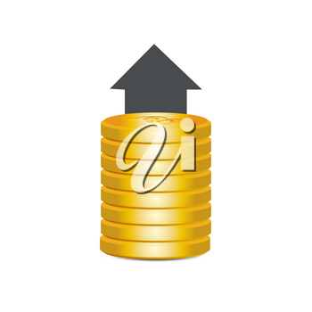 Bitcoin Icon Modern Web Money Digital Currency Logo Concept Vector Illustration. Pile of gold bitcoins with an up arrow.