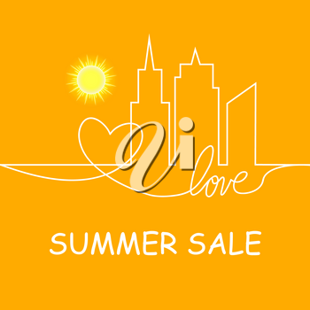 Retro Summer Sale Vector Illustration of Abstract Town and heart and love in continuous drawing lines in Flat Design Style.