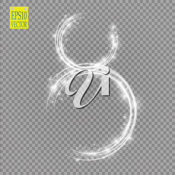 Alphabets Number 8 eight of white glittering stars on transparent background. Illustration vector. eps 10