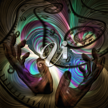 Surreal painting. Human's hands and spirals of time. Colorful swirls.
