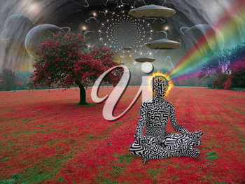 Man meditates in lotus pose. Space saucers in the sky above surreal landscape