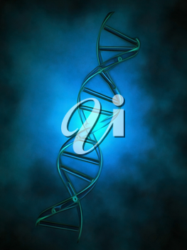 DNA chain in blue light