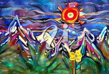 Abstract painting, mountain landscape with flowers
