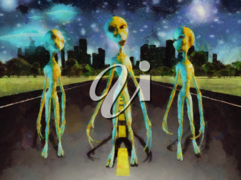 Fantastic painting. Three aliens stands on the road. City at the horizon