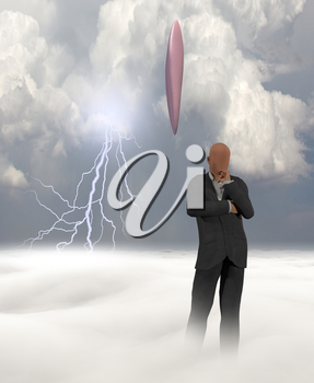 Faceless man and giant UFO in clouds