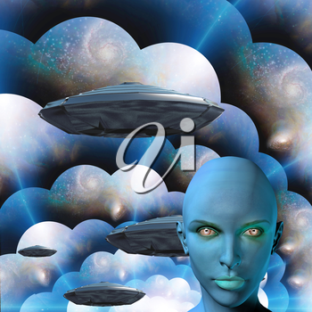 The face of female alien. Flying saucers in multi-layered spaces on a background