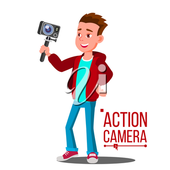 Child Boy With Action Camera Vector. Self Video, Portrait. Shooting Process. Cartoon Illustration