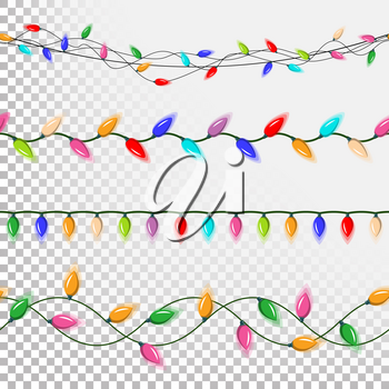 Christmas Lights Decorations Vector. Flat Lights Set. Strings Of Mini Christmas Lights. Isolated On Transparent Background Illustration