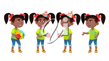 Girl Kindergarten Kid Poses Set Vector. Black. Afro American. Little Child. Having Fun On Carnival, Birthday Party. For Advertisement, Greeting, Announcement Design. Isolated Illustration