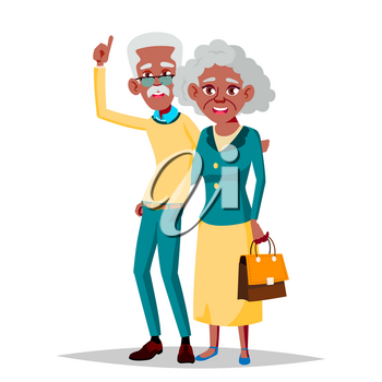 Elderly Couple Vector. Grandfather And Grandmother. Silver Hair. Senior Lady And Gentleman. Black, Afro American. Isolated Flat Cartoon Illustration