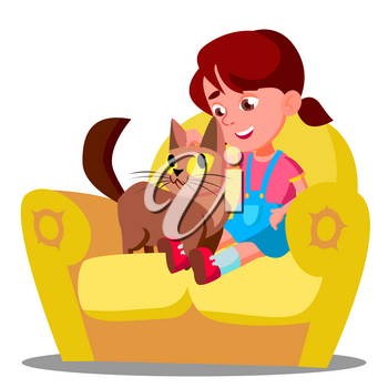 Little Girl With A Cat Sitting On The Sofa Vector. Illustration
