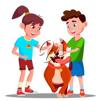 Two Children Petting A Happy Dog Vector. Illustration