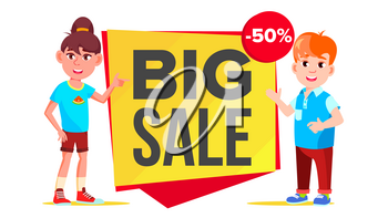 Big Sale Banner Vector. School Children, Pupil. Kid Pointing. Website Stickers, Color Web Page Design. Isolated Illustration