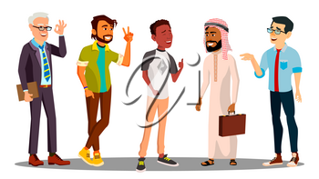 Multicultural Group Of Man Together Vector. Isolated Illustration