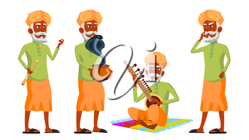 Indian Old Man Poses Set Vector. Hindu. Asian. Elderly People. Senior Person. Aged. Snake Cobra Dance. Web, Brochure, Poster Design Isolated Illustration