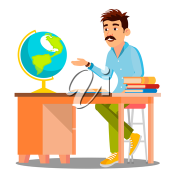 Geography Teacher In Glasses Sitting At Table With Books And Globe Vector. Illustration