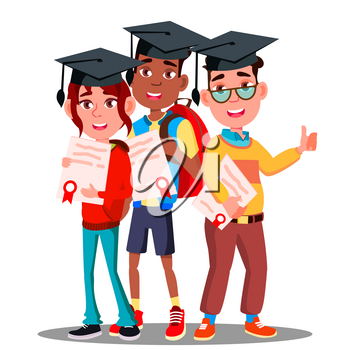 Multinational Group Of Students In Graduation Caps And With Diplomas In Hands Vector. Illustration