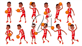 Basketball Player Child Set Vector. In Action. Athlete In Uniform With Ball. Team Action Stickers. Sport Game. Isolated Flat Cartoon Illustration