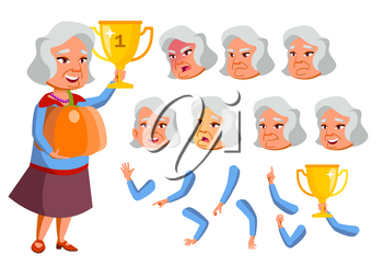 Asian Old Woman Vector. Senior Person. Aged, Elderly People. Funny, Friendship. Face Emotions, Various Gestures. Animation Creation Set. Isolated Flat Cartoon Illustration