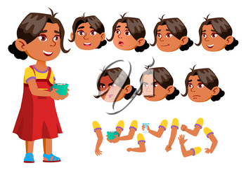 Arab, Muslim Girl, Child, Kid, Teen Vector. Active Cute. Cheer, Pretty. Face Emotions Various Gestures Animation Creation Set Isolated Flat Character Illustration