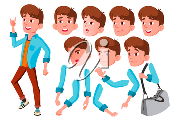 Teen Boy Vector. Teenager. Positive Person. Face Emotions, Various Gestures. Animation Creation Set. Isolated Flat Cartoon Character Illustration