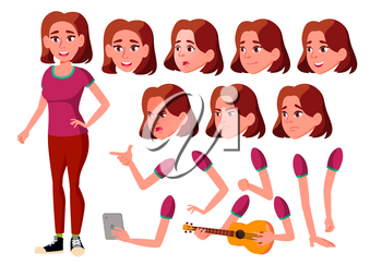 Teen Girl Vector. Teenager. Activity, Beautiful. Face Emotions, Various Gestures. Animation Creation Set. Isolated Cartoon Character Illustration
