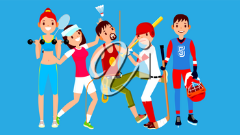Athlete Set Vector. Man, Woman. Fitness Girl, Tennis, Climber, Baseball, Hockey. Group Of Sports People In Uniform, Apparel. Sportsman Character In Game Action Cartoon Illustration