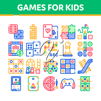 Interactive Kids Games Vector Thin Line Icons Set. Domino, Chess And Video Games Controller Linear Pictograms. Cards And Jenga, Tetris And Billiard, Monopoly And Darts Color Contour Illustrations