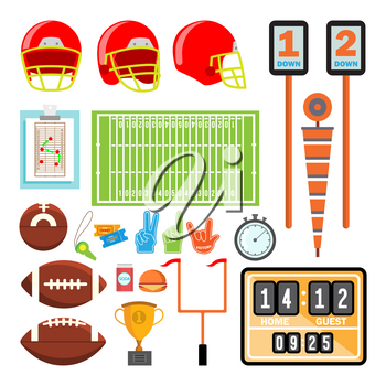 American Football Icons Set Vector. American Football Accessories. Helmet, Ball, Cup, Field. Isolated Cartoon Illustration