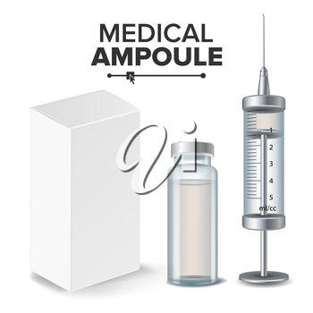 Medical Ampoule, White Package Box, Syringe Vector Realistic