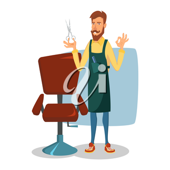 Cute Barber Vector. Cartoon Happy Hipster Barber Man. Professional Barber Ready To Do A Trendy Haircut. Isolated Illustration.