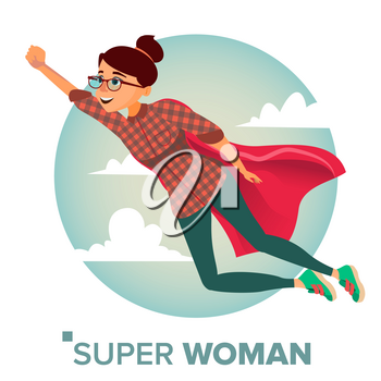 Super Businesswoman Character Vector. Achievement Victory Concept. Successful Superhero Business Woman Flying In Sky. Waving Red Cape. Isolated Flat Cartoon Illustration