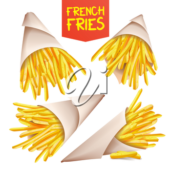 French Fries Potatoes Vector. Paper Cone. Classic American Fast Food Potato Stick. Isolated Realistic Illustration