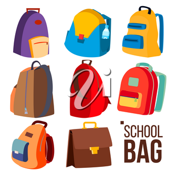 School Bag Set Vector. Different Types, View. Schoolchild, Kids Backpack Icon. Education Sign. Back To School. Isolated Cartoon Illustration