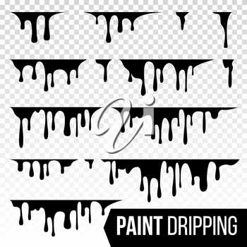 Paint Dripping Liquid Vector. Abstract Current Drops. Ink, Blood Splatters. Halloween Concept. Isolated Illustration