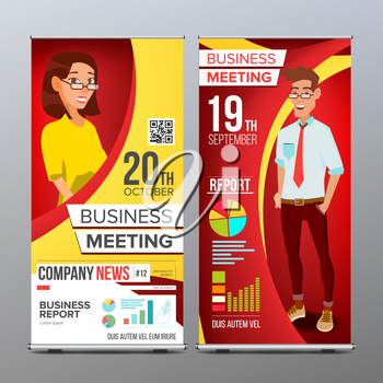 Roll Up Display Vector. Vertical Poster Template Layout. Businessman And Business Woman. Tech, Science. For Business Meeting. Advertising Concept. Red, Yellow. Business Cartoon Illustration