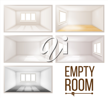 Empty Room Set Vector. Clean, White, Empty Wall. Plastic Window. House Interior Background. Dimensional Space. Living room. 3d Realistic Illustration