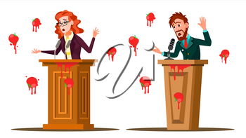 Fail Speech Vector. Businessman, Woman. Unsuccessful Messaging, Presentation. Bad Feedback. Having Tomatoes From Crowd. Tribune, Rostrum With Microphone. Failed Communication Illustration