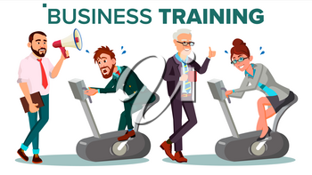 Business People Training Concept Vector. Businessman, Woman Running On Exercise Bike. Office Worker. Hard Working. Teacher Shows Way. Suit. Seminar. Reporting, Training Staff. Illustration