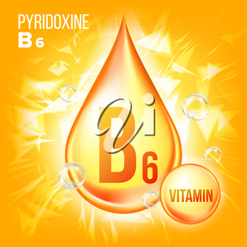 Vitamin B6 Pyridoxine Vector. Vitamin Gold Oil Drop Icon.Organic Gold Droplet Icon. For Beauty, Cosmetic, Heath Promo Ads Design. Drip 3D Complex. Illustration