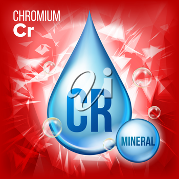 Cr Chromium Vector. Mineral Blue Drop Icon. Vitamin Liquid Droplet Icon. Substance For Beauty, Cosmetic, Heath Promo Ads Design. 3D Mineral Complex Chemical Formula. Illustration