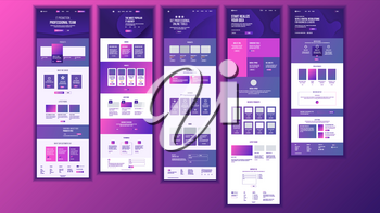 Main Web Page Design Vector. Website Business Reality. Landing Template. Creative Project. Information Tools. Financial Mining. Partner Option. Illustration