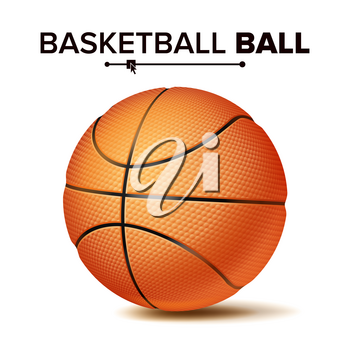 Orange Basketball Ball Isolated Vector. Realistic Illustration