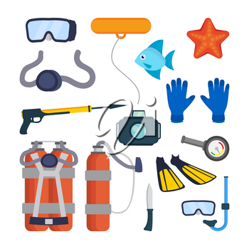 Diving Equipment Set Vector. Scuba Diver Accessories. Mask, Tube, Buoy, Starfish, Fish, Underwater Gun, Camera, Oxygen Tank Knife Flippers Pressure Depth Sensor Isolated