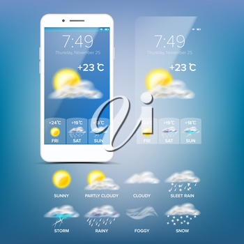 Weather Forecast App Vector. Realistic Smartphone Screen. Weather App With Icons. Design Element Illustration